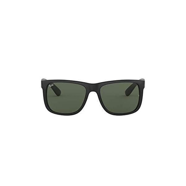 Ray-Ban RB4165 Justin Rectangular Sunglasses, Black/Green, 55 mm