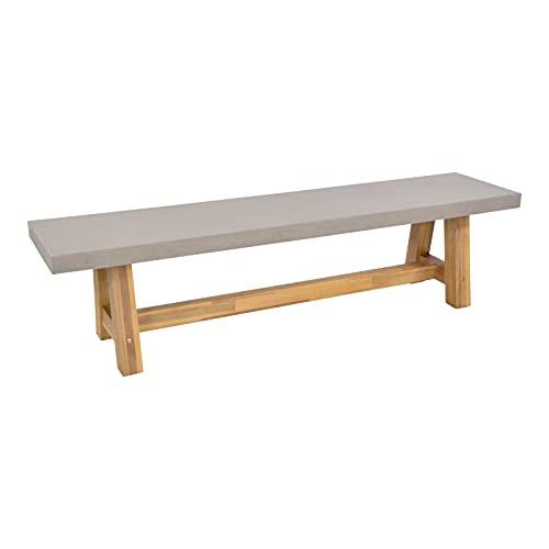 lifestyle4living Gartenbank mit Massivholz-Gestell und Sitzfläche aus Polystone in Beton-Optik, wetterfest, 180x40 cm | Hochwertige Bank für 3 Personen