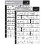 "VOL 1+2 DUMBBELL EXERCISE POSTER 2-PACK LAMINATED - Workout Strength Training Chart - Build Muscle Tone, Tighten - Home Gym Weight Lifting - Body Building Guide w/ Free Weights & Resistance - 20""x30"""