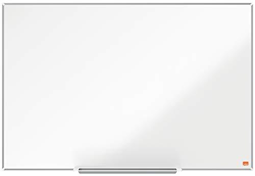 Nobo Magnetisches Nanostahl-Clean-Whiteboard mit Stiftablage, 900 x 600 mm, Schlanker Zierrahmen, InvisaMount-Montagesystem, Impression Pro, Weiß, 1915402