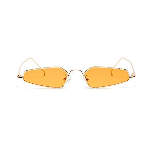 Siyse Gafas de Sol Para Mujer Retro Metal Puntiagudo Ojo de Gato Marco Ultra PequeñO Gafas Poligonales Hombre Hip Hop-B