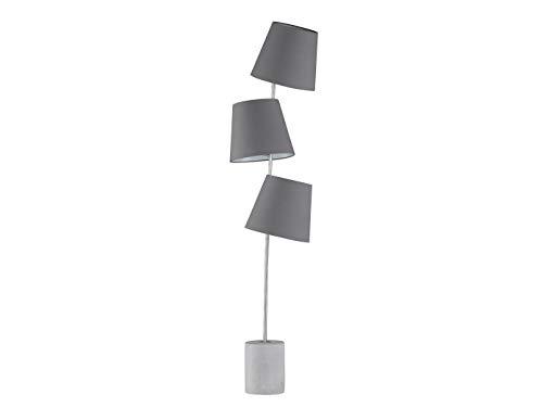 Buitengewone Honsel LED vloerlamp met 3 grijze stoffen kappen en betonsokkel