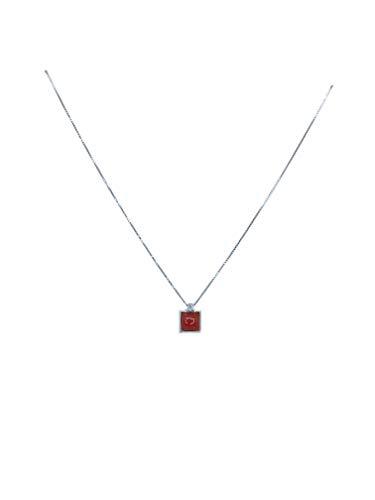 sicilia bedda - Gioielli in Corallo Rosso del Mediterraneo - Argento 925 - Prodotto Realizzato a Mano (Ciondolo Quadrato)