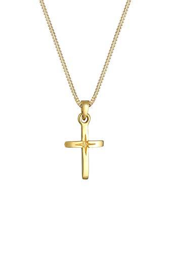 Elli Halskette Damen Kreuz Anhänger in 925 Sterling Silber vergoldet
