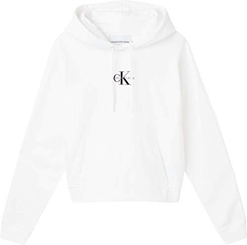 Calvin Klein Jeans Cropped Monogram Hoodie Maglia di Tuta, Bright White, X-Large Donna