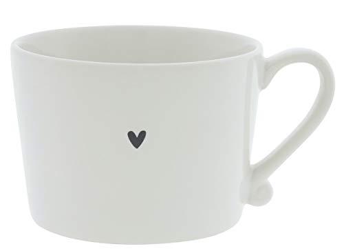 BC Becher mit Henkel little Heart Keramik weiss schwarz Keramikgeschirr Henkelbecher BC Cup Küche Frühstück Gedeckter Tisch