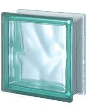 5 piezas Seves vitroladrillo Pegasus verde satén, 1 lado 19 x 19 x 8