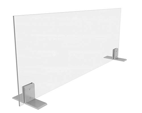 Clear Acrylic Panel | Free-standing Sneeze Guards for Businesses or Counters Includes Brackets 36'x36' 1/4' Shield