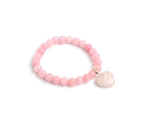 SataanReaper Presents Rose Quartz 8 Mm Stretch Bracelet with Rose Quartz Heart #SR-657