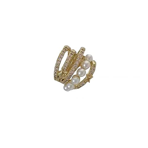 Pendientes De Estrella De Perla De Circonita Micro Incrustada Con Clip De Oreja De Hueso De Oreja
