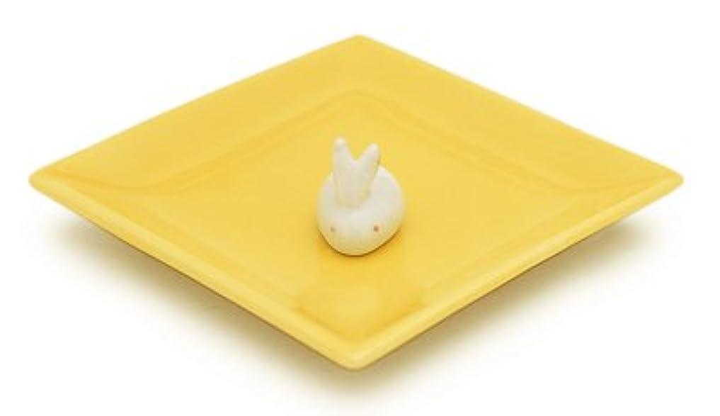 薬用縁石一致陶器香皿&ウサギ香立(イエロー)