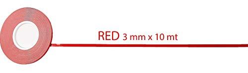 Cinta decorativa adhesiva para carrocería 10 m rojo