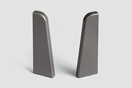 EGGER Endstück Sockelleiste Universal silber für einfache Montage von 60mm Laminat Fußleisten | Inhalt 2 Stück | Kunststoff robust | Optik silber grau matt Edelstahl