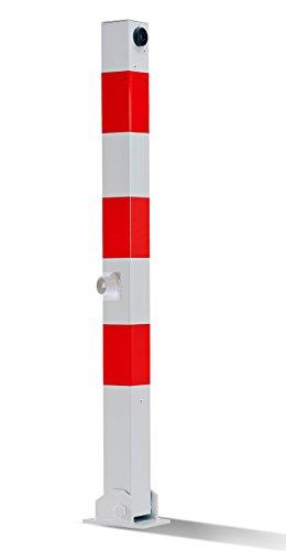 Absperrpfosten 900mm Hoch - 70x70mm Vierkantrohr, Umlegbar mit Dreikantverschluß, für Dübelbefestigung, Poller, Parkplatzsperre
