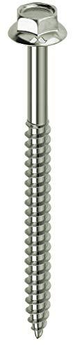 Mustad: 100 viti Kovervit AA, Testa Esagonale con Collare, 6.5x80 mm, Zincate Chromiting