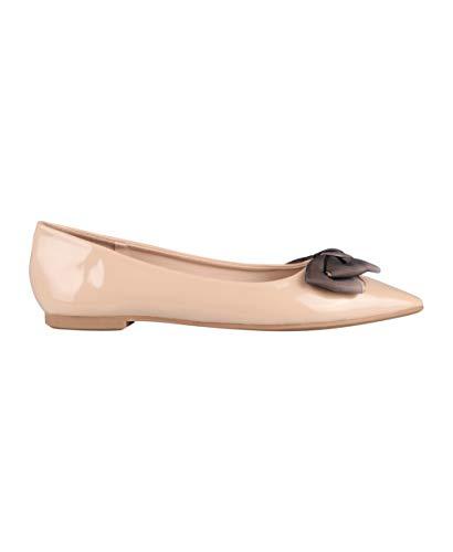 KRISP Damen Klasssische Ballerinas Lack Balerinaschuhe Flach Damenschuhe, Zartrosa (Spitz), 36, 3783-NUD-3