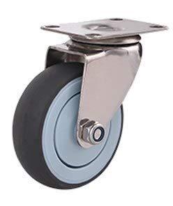 Ruedas 304 ruedas de acero inoxidable ruedas, 3/4 / 5 pulgadas, banda de rodadura de goma suave, sin óxido, rueda médica de fábrica de alimentos silenciosa rueda plana Ruedas de robot aspirador