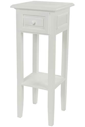 Telefontisch im Landhaus Stil weiß - Beistelltisch mit Schublade - Holz Blumentisch Nachttisch