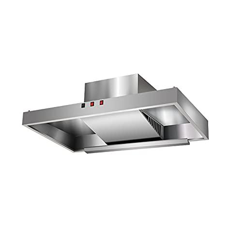PEIHAN Kabinett-Dunstabzugshaube, schlanker Küchenherd-Abzug, 2 Geschwindigkeiten mit LED-Licht, platzsparendes Design, Drucktastensteuerung, Edelstahl-Finish