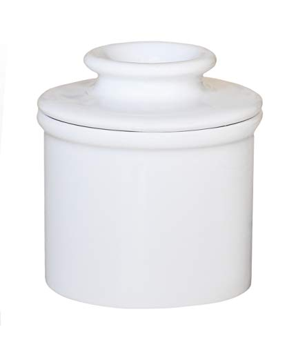 Butter Bell - The Original Butter Bell Crock by L. Tremain, French Ceramic Butter Dish, Retro & Matte Collection, White