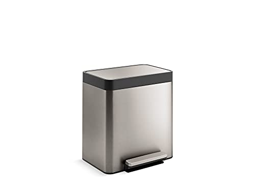KOHLER 8 Gallon Compact Hands-Free Kitchen Step Can, Trash Can with Foot Pedal, Quiet-Close Lid, Stainless Steel, K-20942-ST