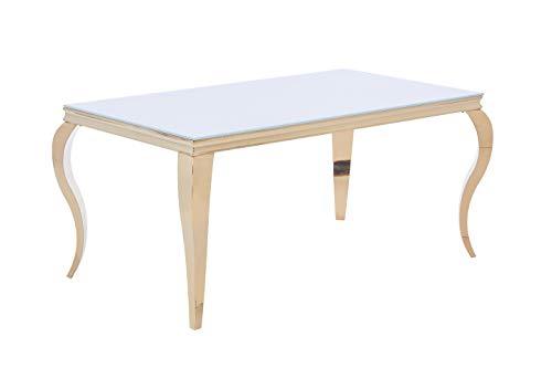 Designer Esstisch aus poliertem Edelstahl Chrom 160 x 90 x 76 cm - sehr Kratzfest - perfekt geeignet als Esszimmertisch/Wohnzimmertisch (Gold/Weiße Glasplatte)