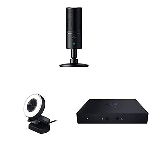 Razer Seiren X - Microphone USB de Diffusion Electrostatique Microphone Streaming + 1080p 30 Fps / 720p 60 Fps Streaming Webcam avec Éclairage Annulaire de Luminosité Réglable