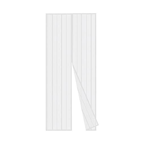 Sekey Magnet Fliegengitter Tür Vorhang für Holz, Eisen, Aluminium Türen und Balkon. Einfache Installation (100x220cm, Weiß)