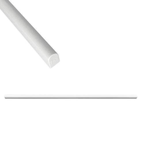 High Pencil Tile Trim 1/3 x 12 inch Shower Edge Ceramic Tile Transition Liner Backsplash Wall Molding - Polished Bright White (6 Pack)