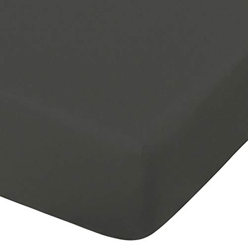 NTBAY Microfiber Fitted Crib Sheet, Cozy and Soft Solid Color Toddler Sheet, 28 x 52 Inches, Dark Grey