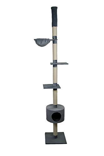 animal-design Katzenbaum deckenhoch beige, grau - Skinny - mit Liegemulde, Wohnhöhle, Farbe:grau