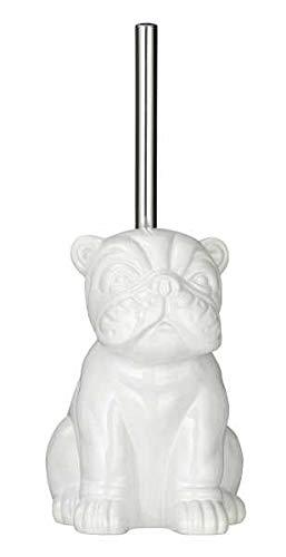 WENKO Escobillero WC Bulldog blanco - Portaescobillas para el inodoro, Cerámica, 12 x 19.5 x 15.5 cm, Blanco