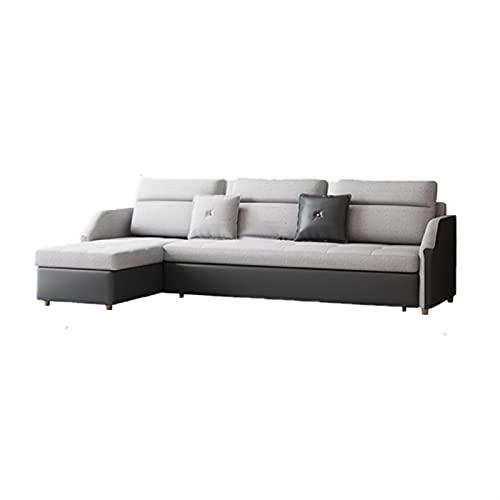 HMBB Convertible Seccional Futon Sofa Sofá con cama y almacenamiento Tela de lino moderno de 4 asientos Moderno de lino Reversible Chaise Durmiente con sofá y cama reversibles en forma de chaise L for