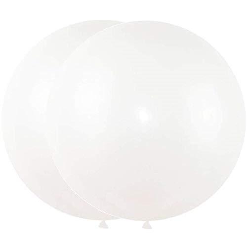 DIWULI, 2 Stück gigantische XXL Pastell Luftballon, Riesen Luftballons, Latexluftballons, Pastellfarben Latex-Ballons für Partydeko, Deko Hochzeit, Jumbo Ballons (Weiß)