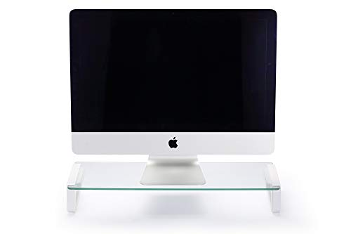 Slabo Monitorständer Notebookhalterung für Monitor | Bildschirme | iMac | MacBook | TV | Notebook | Laptop Aluminium - Plexiglas - Weiß