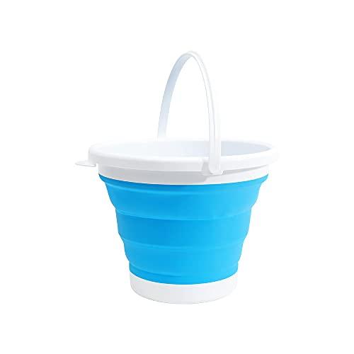 (エーアンドアイ)折りたたみバケツ おしゃれ シリコン ソフト コンパクト 最大 5L アウトドア 洗車 洗濯 お風呂 SG(1つ ブルー)