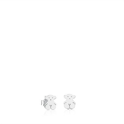 TOUS Bear - Pendientes de Botón con Silueta de Oso en Plata de Primera Ley - Motivos: 0,65 x 0,85 cm