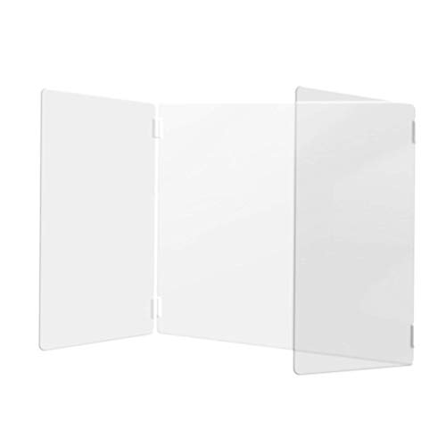Sucastle Sneeze Guard 3-Sided, Foldable Shield Board Plexiglass Barrier Clear Reception Protective Acrylic Sneeze Guard Panel for School,Classroom Desk,Library,Counter,Offices, Canteen (3sizes)