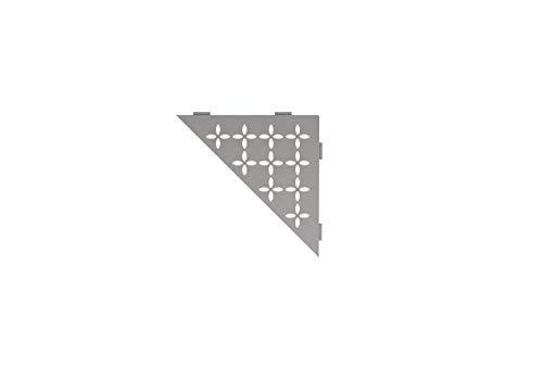 Schluter Systems Triangular Corner Shelf-E - Floral Design - Stone Grey (SES1D5TSSG) - Kerdi-Line Shower Acessory