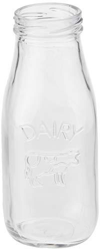 Circleware 92039 – Juego de 6 botellas de leche de vaca de campo, vasos de vidrio para zumo de agua,…