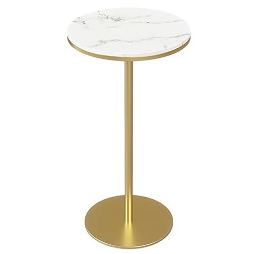WUDAXIAN Tavolino Rotondo con Piano in lastra di Roccia e Base in Ferro Dorato, tavolino da Divano, tavolino da Cocktail con Accento per Soggiorno