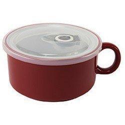 Boston Warehouse Chili Tasse Suppe Schüssel mit Griff und Deckel rot 22Unzen