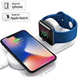 YUUDIS [UPGRADED] 2 in 1 Wireless Charger With Magnetic Compatible Apple Watch Charger Holder Series 3/2/1 ,(7.5W/10W)Fast Wireless Charging Pad,Compatible iPhone X/8/8 Plus/Galaxy S7/S8/Note 8(White)