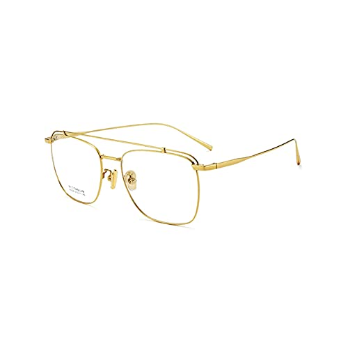 HQMGLASSES Gafas de Lectura de luz Anti-Azul de Titanio Ultraligero Retro, Gafas de Lente de Resina multifocal progresiva HD Dioptrías +1.0 a +3.0,Oro,+3.0