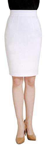 Marycrafts Women's Work Office Business Pencil Skirt L Off White
