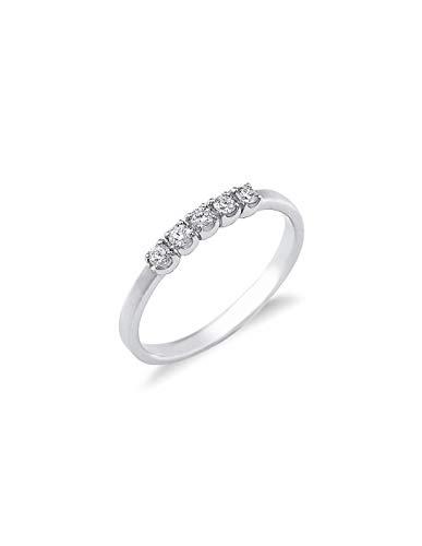Gioielli di Valenza - Anello Veretta a 5 pietre in Oro bianco 18k con diamanti ct. 0,15 - FE501015BB - 9