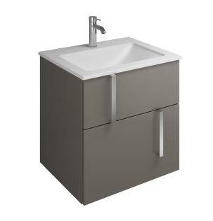 Burgbad Eqio Mineralguss-Waschtisch inklusive Waschtischunterschrank, Breite 620 mm, SEYU062, Farbe (Front/Korpus): Grau Hochglanz/Grau Glänzend, Griff Chrom G0157 - SEYU062F2010G0157