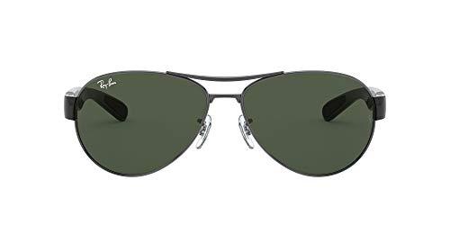 Ray-Ban Unisex RB3509 Sonnenbrille, Mehrfarbig (Gestell: Gunmetal/Schwarz, Gläser: Grün Klassisch 004/71), X-Large (Herstellergröße: 63)