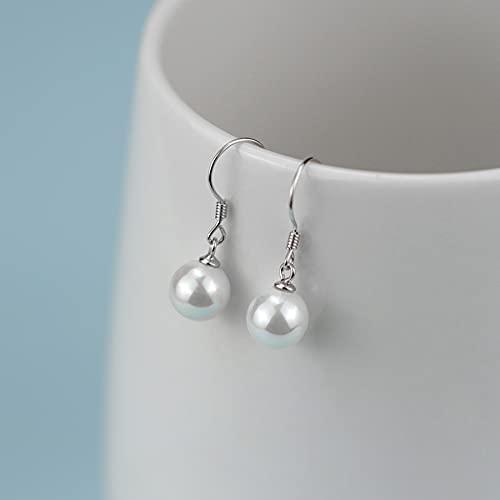 zmoo S925 Pendientes de Perlas de Plata de Ley para Las Mujeres, pequeños Pendientes Cortos Pendientes Simples Pernos prisioneros, alergia amigable,10 mm