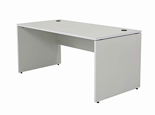 Furni24 Schreibtisch fürs Arbeitszimmer und Home Office - Großer laminierter Computertisch aus Holz, 2 Kabeldurchlässe, Bodengleiter, 2-Personen-Arbeitsplatz - Nuvi 180x80x75 cm/Grau